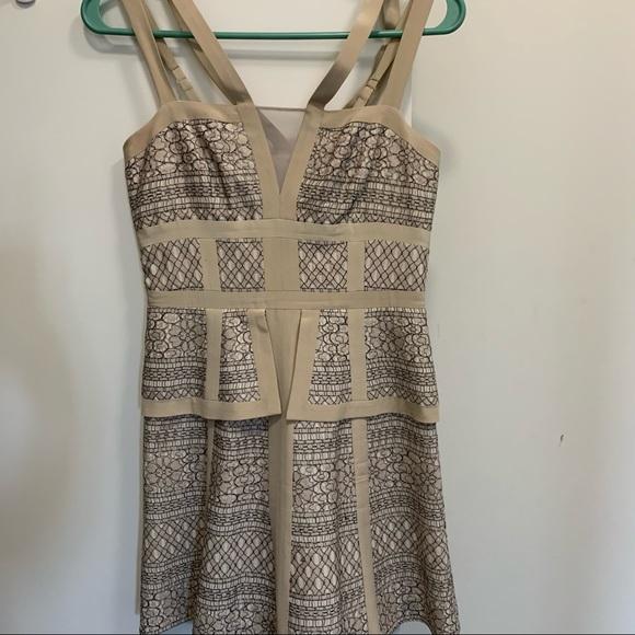 BCBG cream dress with black embroidery